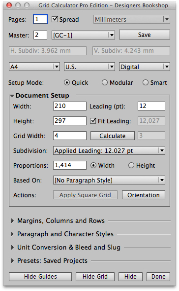 Grid Calculator Pro Edition, Plug-in for Adobe InDesign